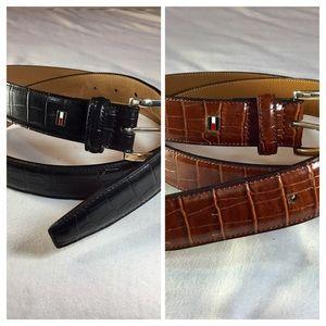 2 Tommy Hilfiger Men' Belts, Black/Brown, Size 40